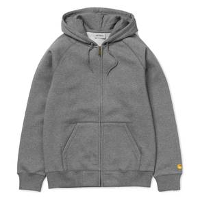 Mikina Carhartt WIP Hooded Chase Jacket - Dark Grey Heather/Gold