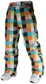 Kalhoty Meatfly La Muerte Pants - Blue/Orange Checkers - C
