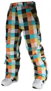 Kalhoty Meatfly Uni Pants - Checkers Blue/Orange - C
