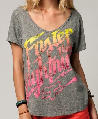 Tričko Fox Girls Faster Than Lightning Tee - Heather Graphite