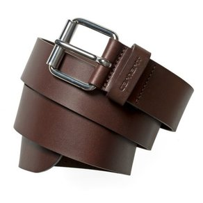Pásek Carhartt WIP Script Belt Cow Leather Dark Brown/ Silver