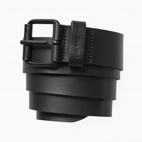 Pásek Carhartt WIP Script Belt Cow Leather - Black/Black