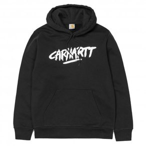 Mikina Carhartt WIP Hooded Painted Script Sweat - Black/White