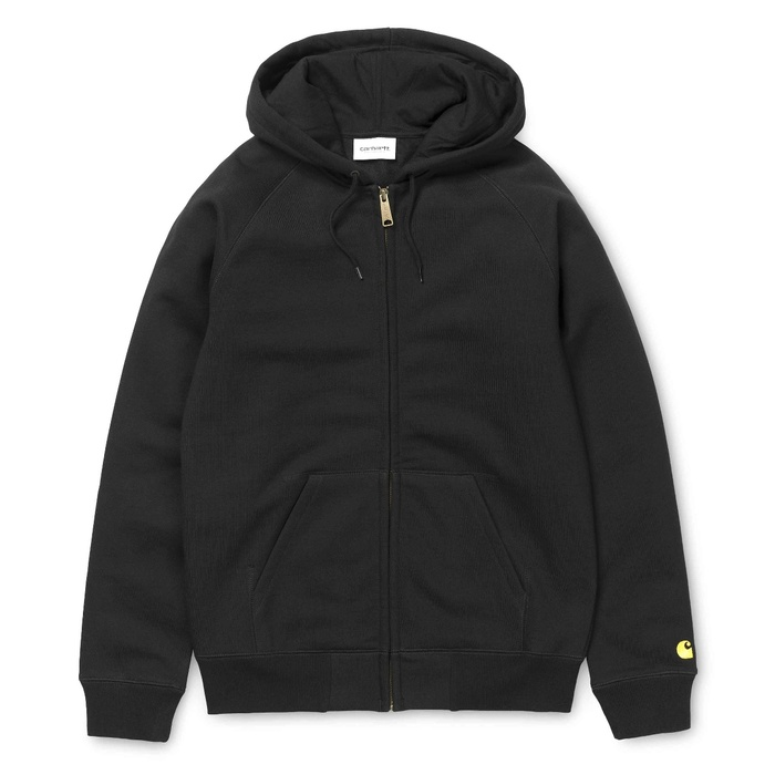 Mikina Carhartt WIP Hooded Chase Jacket - Black/GoldCarhartt WIP Hooded Chase Jacket - Black